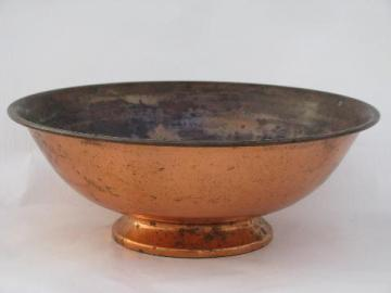 spun copperware bowl, 1950s mid-century vintage solid copper