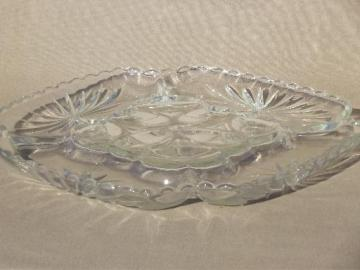 square glass deviled egg plate, vintage Anchor Hocking glass serving tray