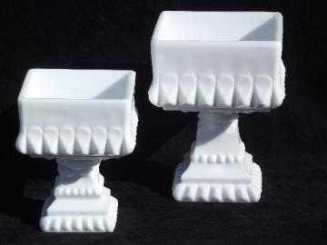 square milk glass compotes big and small, Westmoreland wedding bowl shape