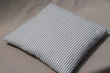 square pillow w/ old blue striped ticking, 1940s or 50s vintage feather pillow