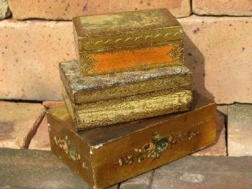 stack of old wood jewelry boxes w/ shabby florentine gold, vintage Italy