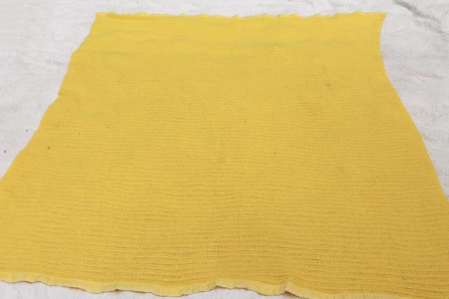 stack of soft vintage acrylic bed blankets, 60s 70s retro harvest gold & lime green