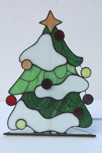 stained glass Christmas tree light, electric candle lamp light-up ...
