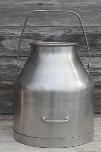 stainless steel milking machine bucket, 5 gallon pail vintage DeLaval milker kettle