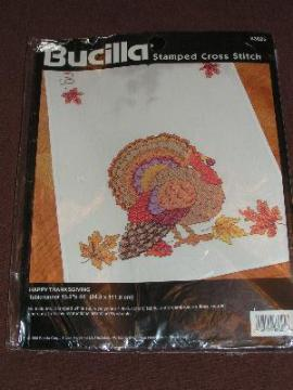stamped to embroider cross-stitch runner kit, Thankgiving turkey