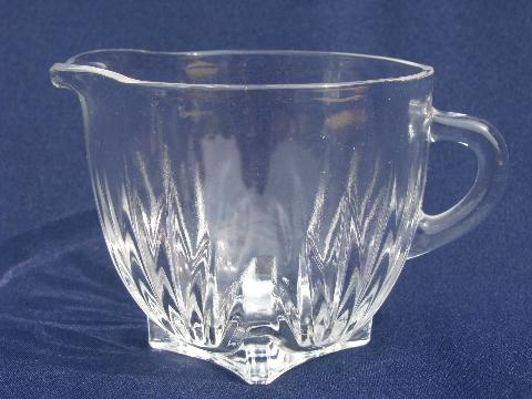 star pattern vintage Federal glass cream pitcher and sugar bowl set