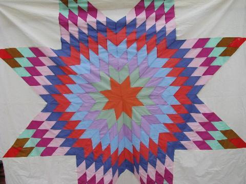 Star Pattern Vintage Quilt Top Pieced Starburst Design