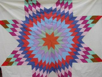 star pattern vintage quilt top, pieced starburst design