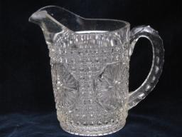 starburst large star pattern antique glass milk pitcher