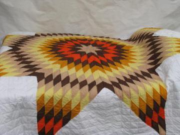 starburst lone star pattern patchwork quilt, hand-stitched, 1950s vintage cotton fabric