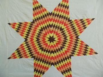 starburst patchwork star harvest colors vintage cotton fabric quilt top