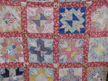 stars vintage quilt top, hand-stitched patchwork, old cotton print fabric