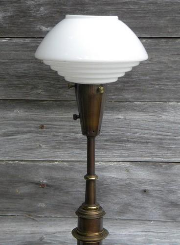 steampunk vintage lighting tall brass and bronze table lamp w/glass globes