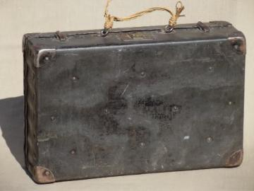 steampunk vintage metal instrument box, antique beat to hell traveling case