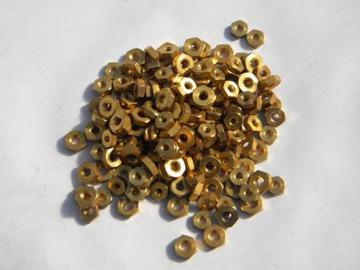 steampunk vintage scrap hardware lot, industrial gold plated hex nuts