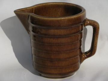 stepped band pattern old antique brown stoneware pottery milk pitcher