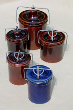 stoneware cheese crocks, old blue & brown pottery canisters, crock jars w/ metal bail lids