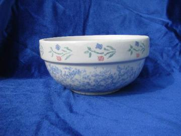 stoneware kitchen mixing bowl, spongeware tulips