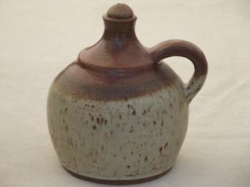 stoneware pottery oil lamp jug, rustic country primitive oil lamp