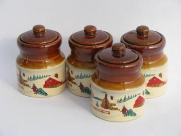 stoneware spice set, crock jars w/ old-fashioned Christmas scenes