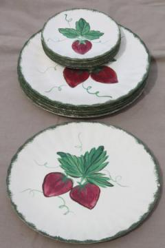 strawberry Blue Ridge pottery, vintage china dinner & dessert plates w/ hand-painted strawberries