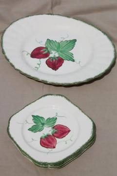 strawberry Blue Ridge pottery, vintage china plates & platter w/ hand-painted strawberries