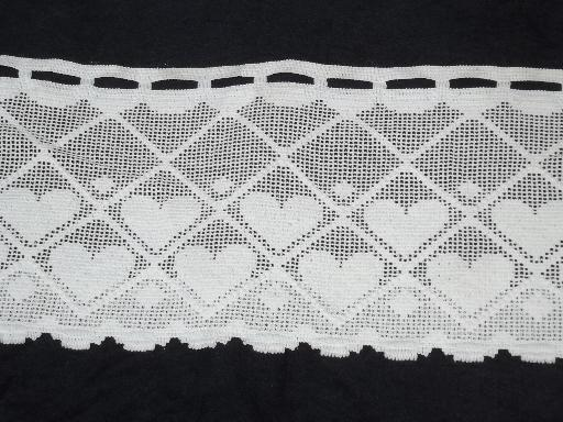 String Of Hearts Border Lace Valance Panels Wide Vintage