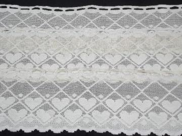 string of hearts border lace valance panels, wide vintage curtain edging