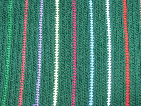 stripes on green handmade crochet yarn throw rug, retro 70s vintage