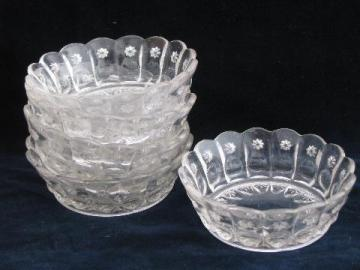 sun & star pattern antique pressed glass fruit / dessert bowls, vintage EAPG
