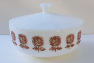 sunflower pattern milk glass casserole dish, bowl w/ lid mid-century mod Federal glass