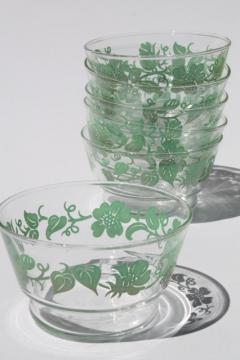 swanky swigs vintage flowered kitchen glass dishes, Libbey glass bowls w/ green flower print