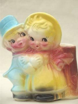 sweet baby couple vintage pottery planter, Tom Thumb? Dolly Dimple?
