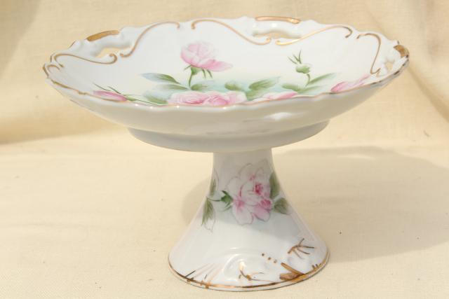 sweet little china cake stand dessert plate, vintage Japan, Lefton or Enesco