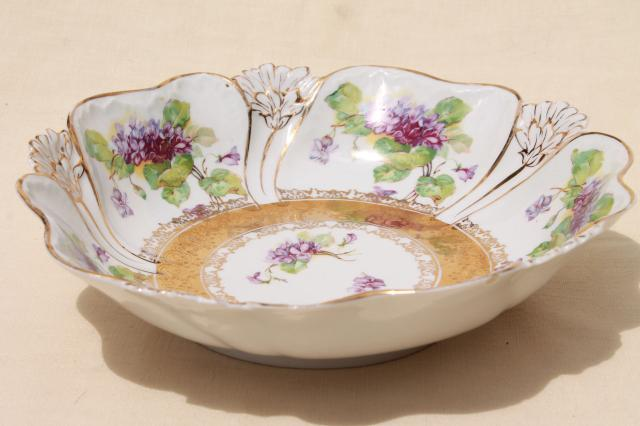 Sweet Violets Antique China Serving Bowl Large Fruit Table Centerpiece Early 1900s Vintage