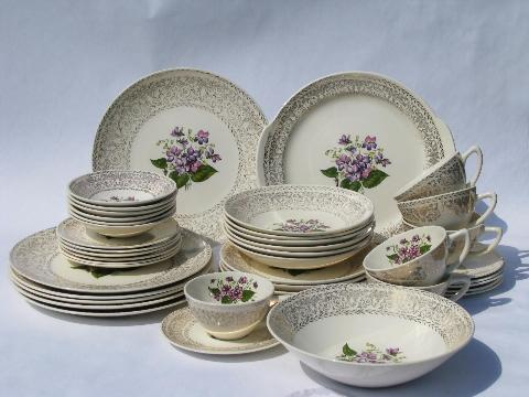 & sweet violets vintage floral china dishes set for 6 w/ serving pieces