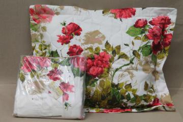 sweetheart roses pillow shams set, mint vintage linen weave fabric pillowcases covers