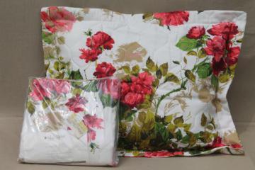 sweetheart roses pillow shams set, mint vintage linen weave fabric pillowcases covers