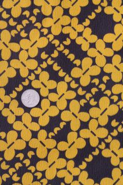 swinging 60s 70s vintage brown & gold print poly crepe fabric, mod design