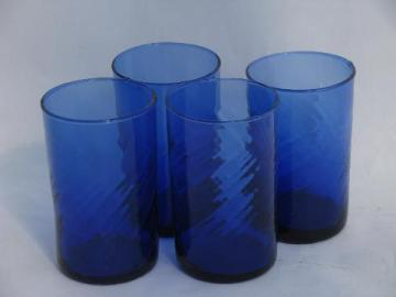 swirl pattern vintage cobalt blue glass juice glasses, set of four