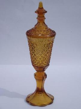 tall amber glass candy jar, vintage diamond point or waffle pattern glass