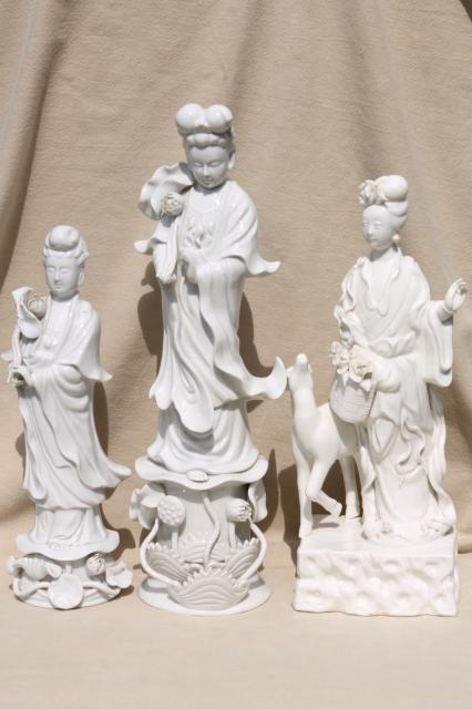 tall blanc de chine white porcelain china lady figures, ornamental ...