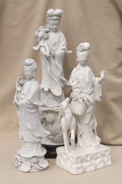 tall blanc de chine white porcelain china lady figures, ornamental statues