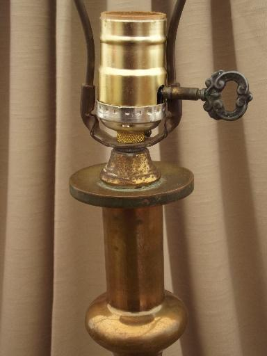 tall brass candlestick lamp, heavy solid brass lamp, 50s 60s vintage