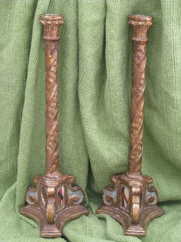 tall carved wood candlesticks, Italian Florentine antique gilt finish