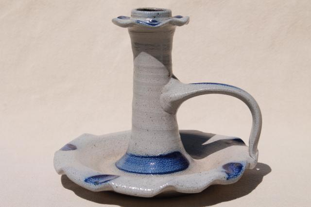 tall chamber candlestick / candle holder, salt glazed Rowe Pottery Cambridge Wisconsin