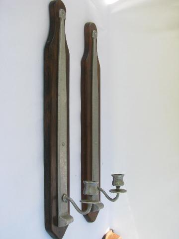 Colonial Wall Sconces Candles : tall colonial pewter sconces for candles, wall mount candlesticks, vintage Armetale