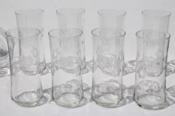 tall cooler glasses / iced tea tumblers, cluster cut mod dots flowers Libbey glasses