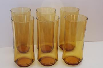 tall cooler glasses, vintage Libbey amber glass tumblers set of six