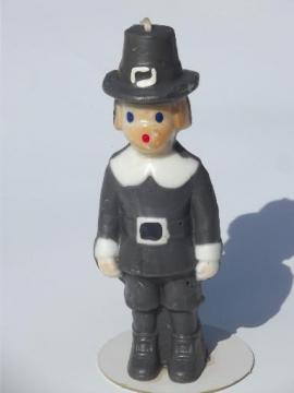 tall figural holiday candle, vintage Gurley Thanksgiving pilgrim boy